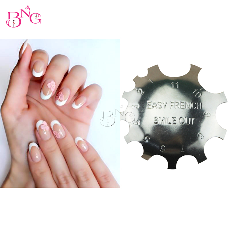 BnG French Cutter Nail Acrílico Manicure Nail Art Tool C-Shade Poly Smile Line Tips Pink White Cutter French Trimmer