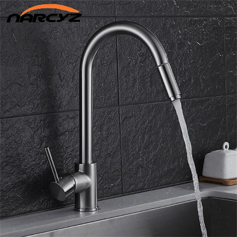 New style Luxury Nickel Single Handle Kitchen Faucet Pull Out Sprayer 360 Rotatable Single Hole Sink Mixer Tap XT-84 free shipping high quality chrome brass kitchen faucet single handle sink mixer tap pull put sprayer swivel spout faucet