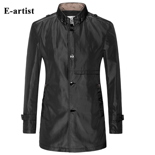 E-artist Stylish Mens Slim Fit Casual Long Trench Coat Solid Windbreaker Outerwear Overcoats 4 Color Plus Size 5XL F04