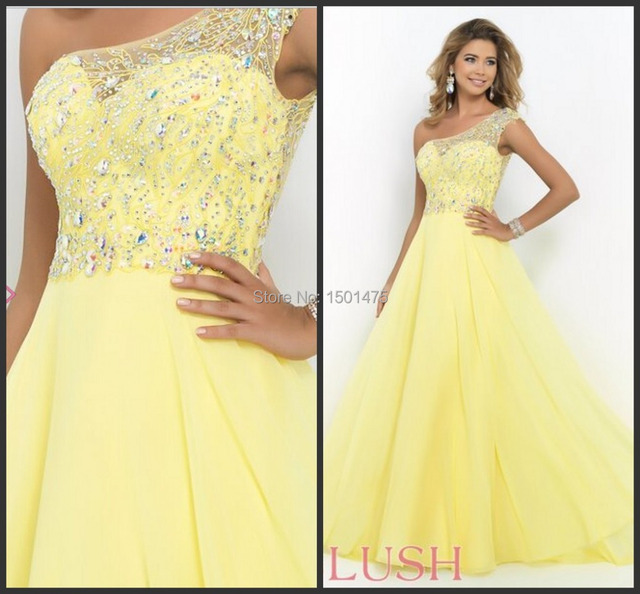 Elegante chiffon Gelb Ballkleid Bling Kristall Prom Kleid einer ...