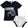 2016 New 2pcs Newborn Toddler Infant Baby Boy Girl Clothes Legend Dairy Milk Biscuit T-shirt Tops+Climbing pants Outfits 0-24M
