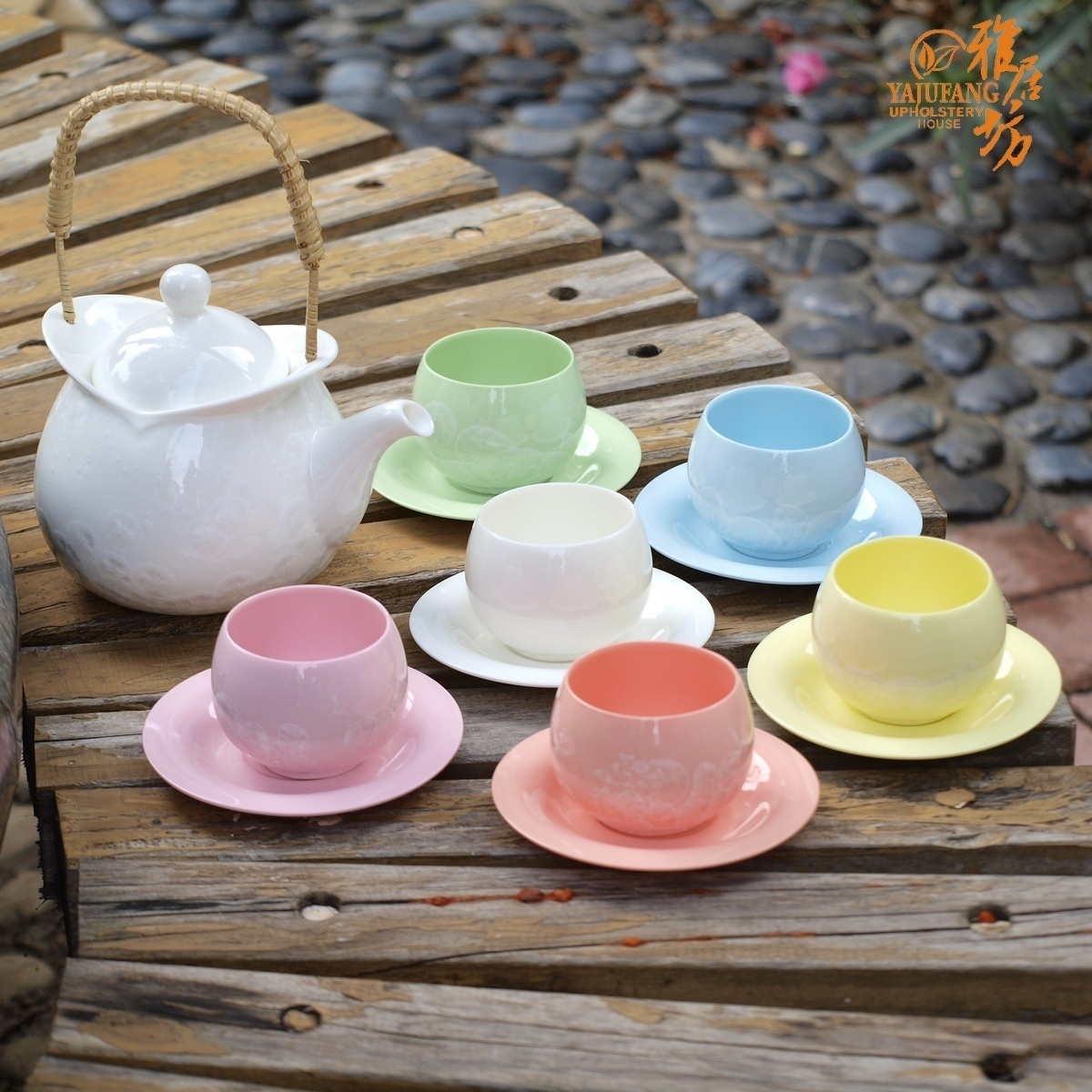 modernrainbowdesignflowerycolorfulceramicteaset highqualitycreativeweddingbirthdaymothersday - modern rainbow design flowery colorful ceramic tea set high qualitycreative wedding birthday mother's day gift