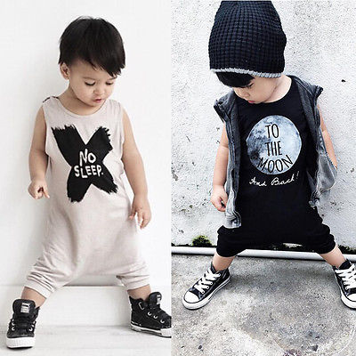 Toddler Baby Boy Girl Romper Jumpsuit Clothes No Sleep/To the Moon Printed Black White Outfits