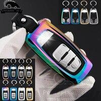 Liga de zinco + Couro Car Key Case Capa Para Audi A1 A3 A4 A5 A6 Q3 Q5 C5 C6 Q7 A8 A7 SQ5 RS5 R8 S4 S5 S6 S7 S8 A6L A4L Chave cadeia