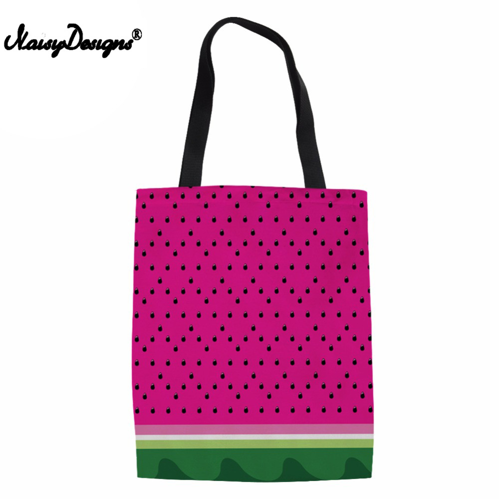 Canvas Tote Casual Beach Bags Large Foldable 3D Watermelon Grocery Bags Reusable Superma ...