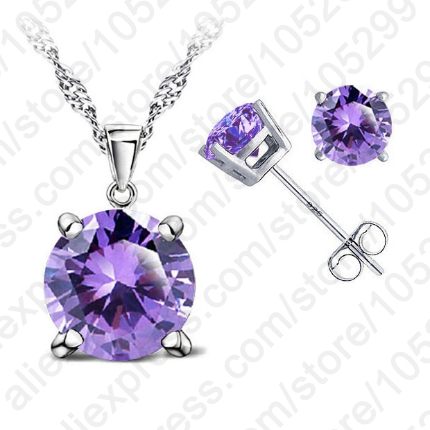 JEXXI Modern Fine Jewelry 4 Claws Cubic Zirconia Good Quality 925 Sterling Silver Jewelry Sets Stud Earring Pendant Necklace