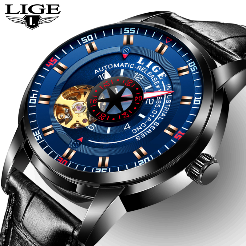 New LIGE Brand Men's Fashion Business Automatic Watches Men leather Waterproof Sport Watch Man Black Clock relogio masculino weide popular brand new fashion digital led watch men waterproof sport watches man white dial stainless steel relogio masculino