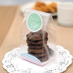 100pcs Matte Plastic Cookies Bag With Paper Board Free Stickers Semi Clear Bread Toast Cellophane Bags For Wedding Diy Cake In Gift Wring