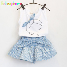 2PCS/3-7T/baby girls clothes set 2015 korean clothing fashion Bow white short-sleeved T-shirt+Culottes kids summer dress BC1152 yuyaobaby white 7t
