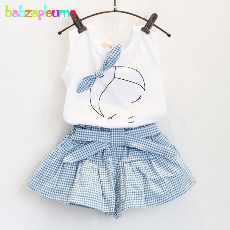 2PCS/2-6Years/Summer Baby Girls Clothes Outfits Cartoon Cute White T-shirt+Blue Shorts Kids Costume Children Clothing Set BC1152