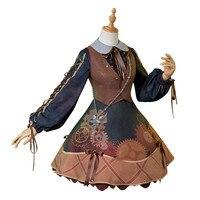 Аниме Косплей Костюм прекрасный стиль рабочий сотовый плателет Лолита платье + жилет + шляпа + сумка + носки стимпанк Стиль Бесплатная достав