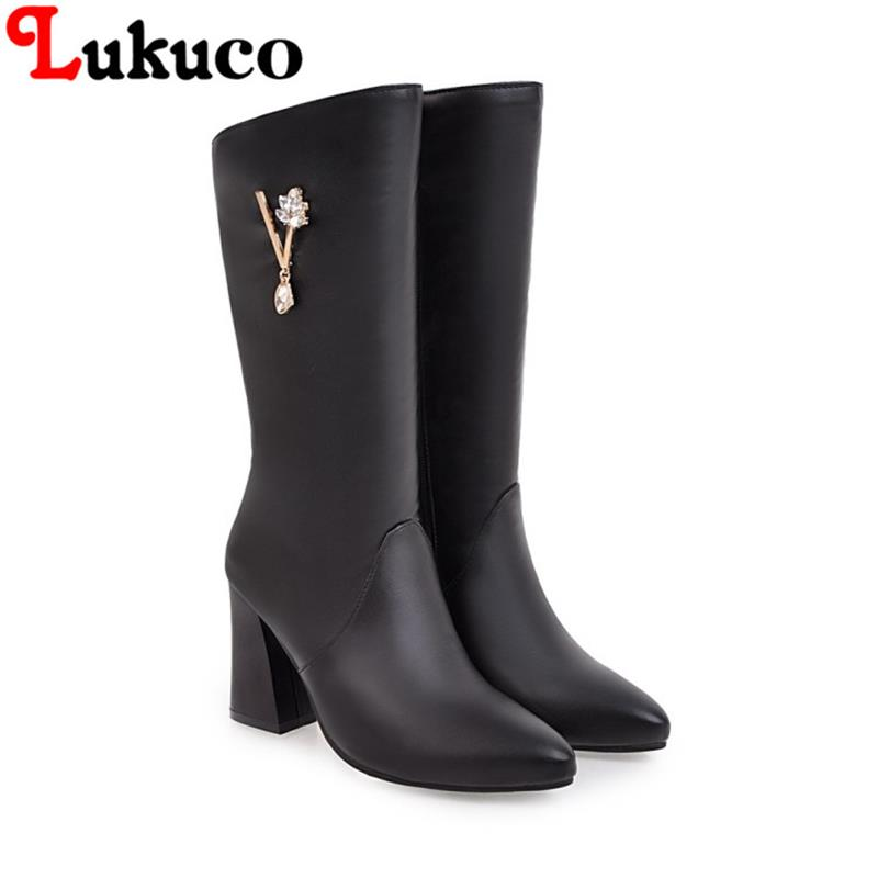 2018 concise large size 39 40 41 42 43 44 45 46 47 48 49 Lukuco women boots zipper design high quality lady shoes free shipping