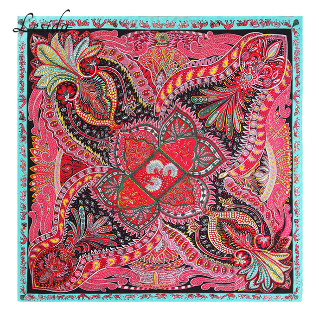 Ethnic Big Size Square Silk Scarf for Women Luxury Brand Desigual Foulard  Femme Shawls and Wraps Neckerchief Twill Printed Scarf e4d4ad79aff
