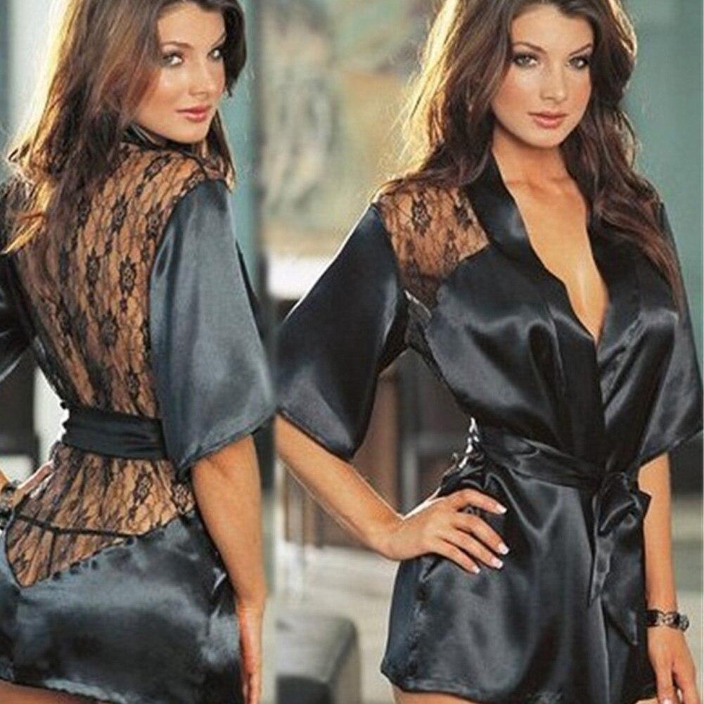 Sexy Babydolls For Women Erotic Lace Temptation Lingerie Lenceria Nightgown Bathrobe -6017