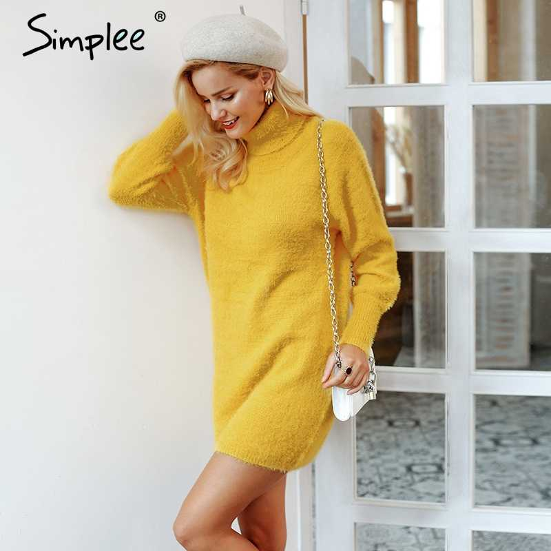 """Женское осенне-зимнее платье-свитер Simplee, облегающее сексуальное толстое платье с высоким воротом, рукавом """"фонарик"""", желтого или абрикосового цвета, пуловер"""