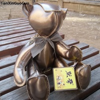 new arrival about 32cm jointed rotated bear plush toy PU leather golden teddy bear soft doll toy birthday gift s0056