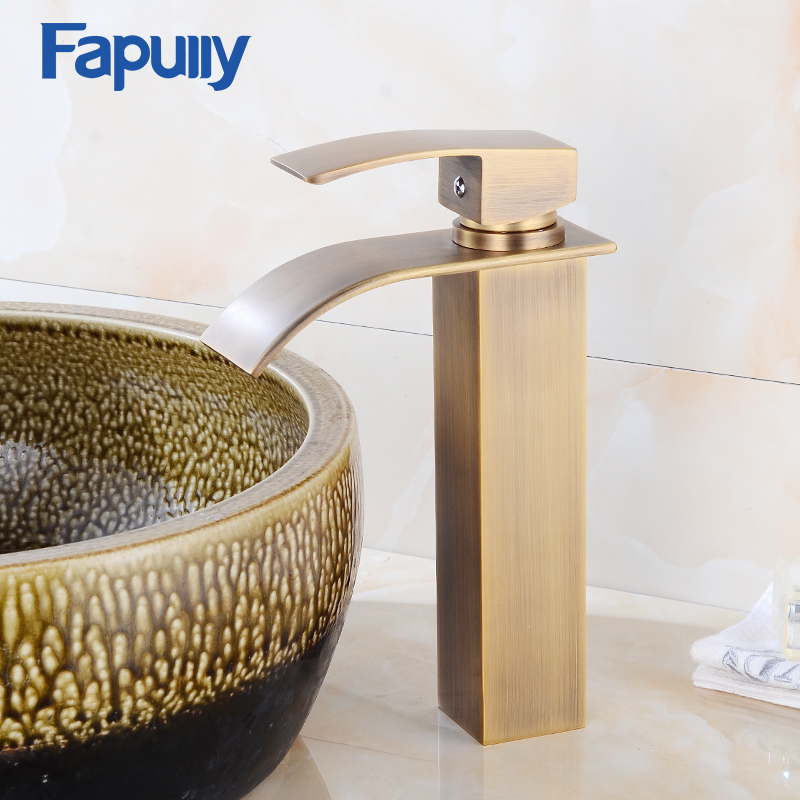 Fapully Waterfall Faucet Tall Antique Bathroom Sink Faucet Hot and ...