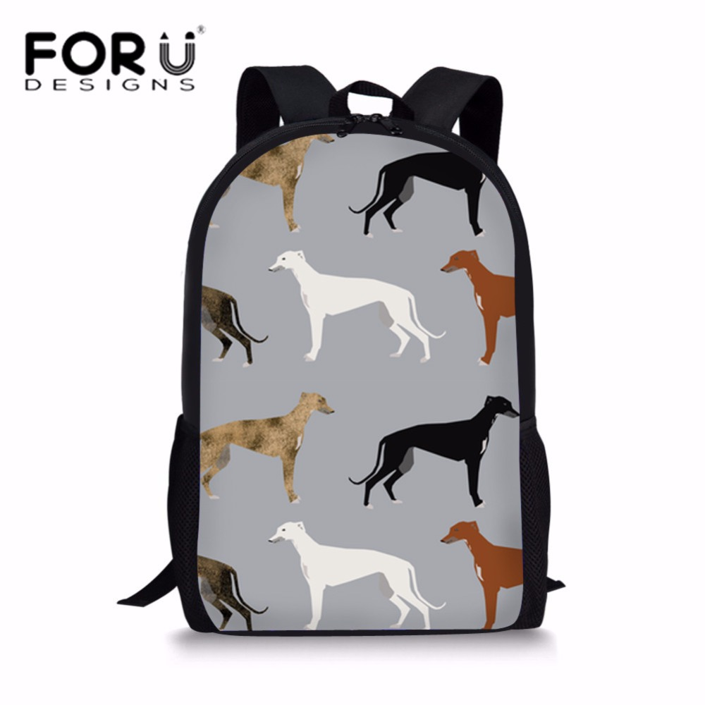 FORUDESIGNS School Bags for Teenagers Greyhounds Cute Dog Rescue Dog Printing Children Backpacks School Satchel Mochila Escolar