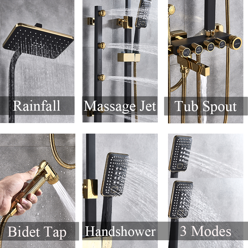 Image 5 - Luxury White Gold Shower Faucet Set 5 Function Switch Wall Mount Rain Shower Head With Hand Shower Bathtub Spout Bidet TapShower Faucets   -
