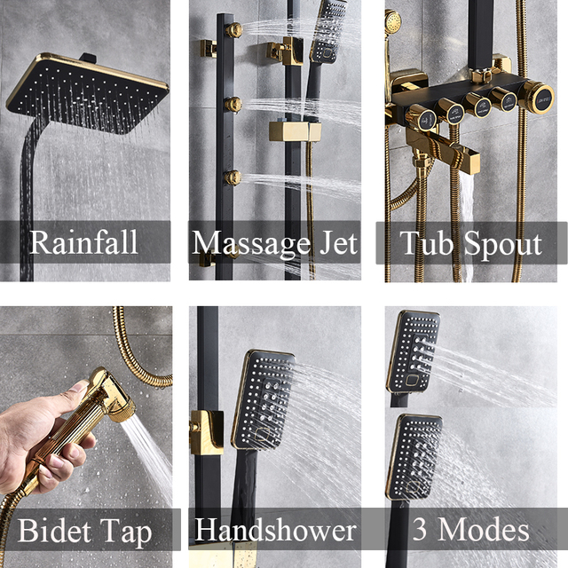Luxury White Gold Shower Faucet Set 5-Function Switch Wall Mount Rain Shower Head With Hand Shower Bathtub Spout Bidet Tap