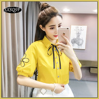 Womens Summer Tops And Blouses Hubble Bubble Sleeve Bow Tie Embroidered Shirts Tops Mujer Verano 2018