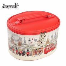 Cosmetic Bags Cartoon Printing Pu Leather Makeup Cases Cute Mouse Character Round Travel Toiletry Storage Organizer Handbags