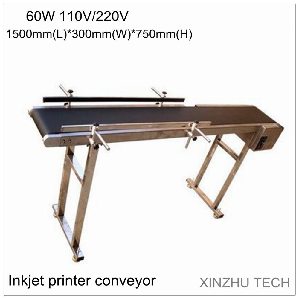 60 w de impresora de inyección de tinta cinta 1500mm * 300mm * 750mm correa de transporte de banda portadora con 250 mm, ancho de la correa AC 110 V y 220 V