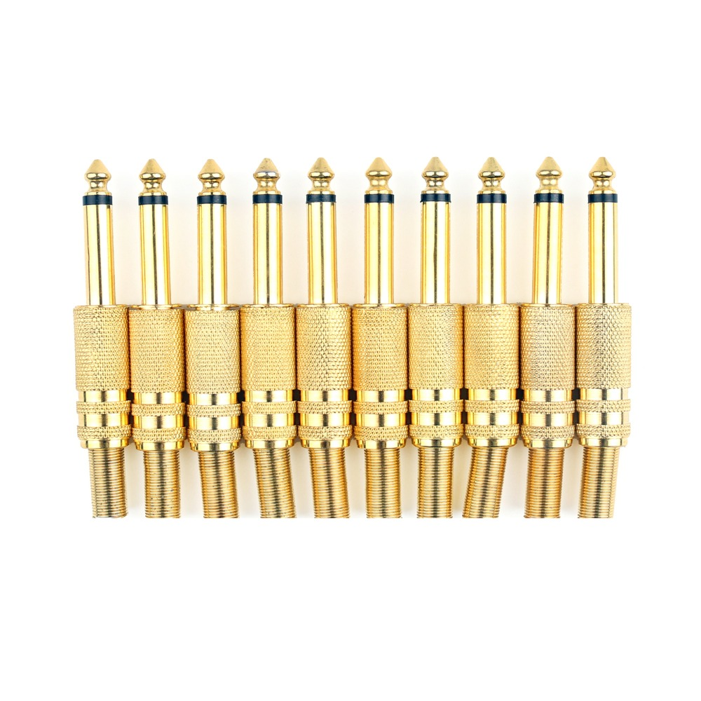 Areyourshop Hot Sale 10 Pcs Gold Plated 6.35mm Male 1/4 Mono Jack Plug Audio Connector Soldering wsfs hot 10 pcs black plastic housing 3 5mm audio jack plug headphone connector