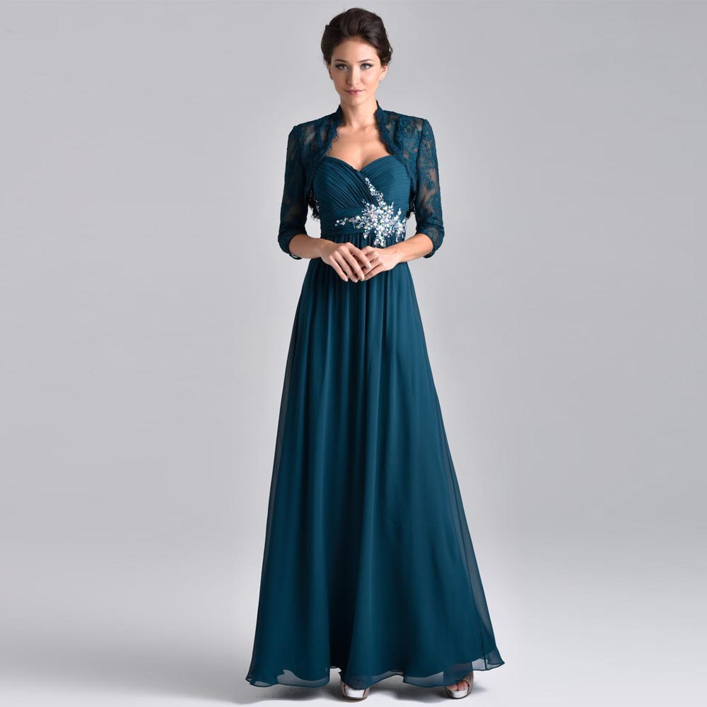 Peacock Green 2017 Mother Of The Bride Dress With Jacket