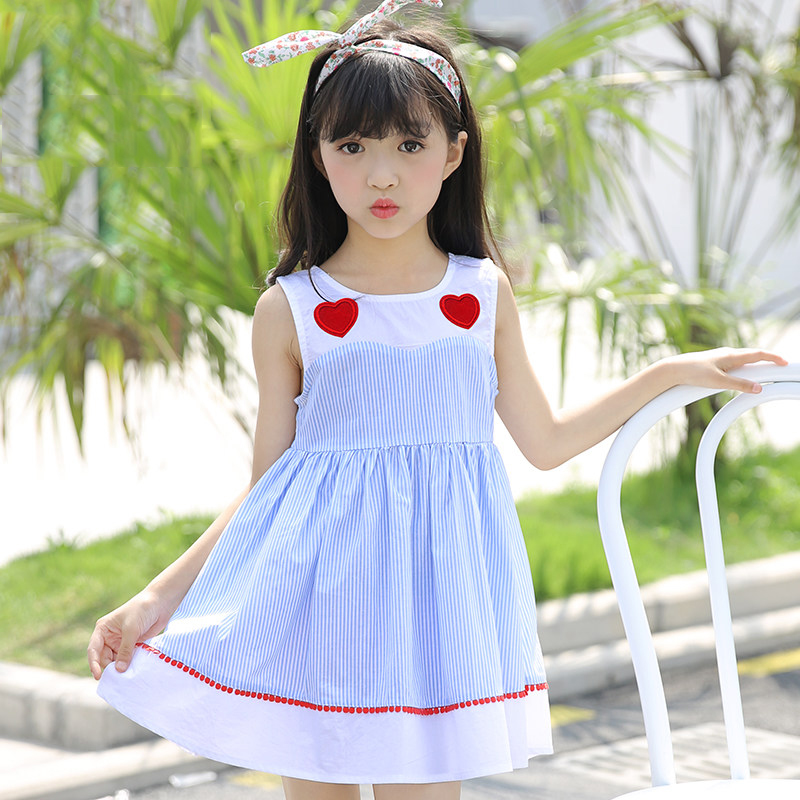 Girl New Dresses Style Heart Design Baby Big Little Sisters Cute Clothes Sky Blue White Striped Age56789 10 11 12 13 14Years Old crooked little heart