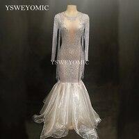 Бесплатная доставка блестящие белые платье со стразами Для женщин вечерние день рождения, празднование Сетчатое платье костюм для танцев н