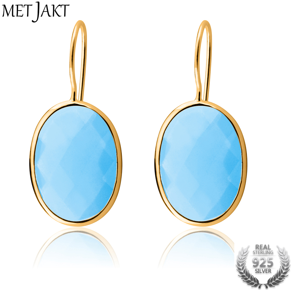 MetJakt Classic Water Drop Agate Earrings Solid 925 Sterling Silver with Gold Color Earrings for Women