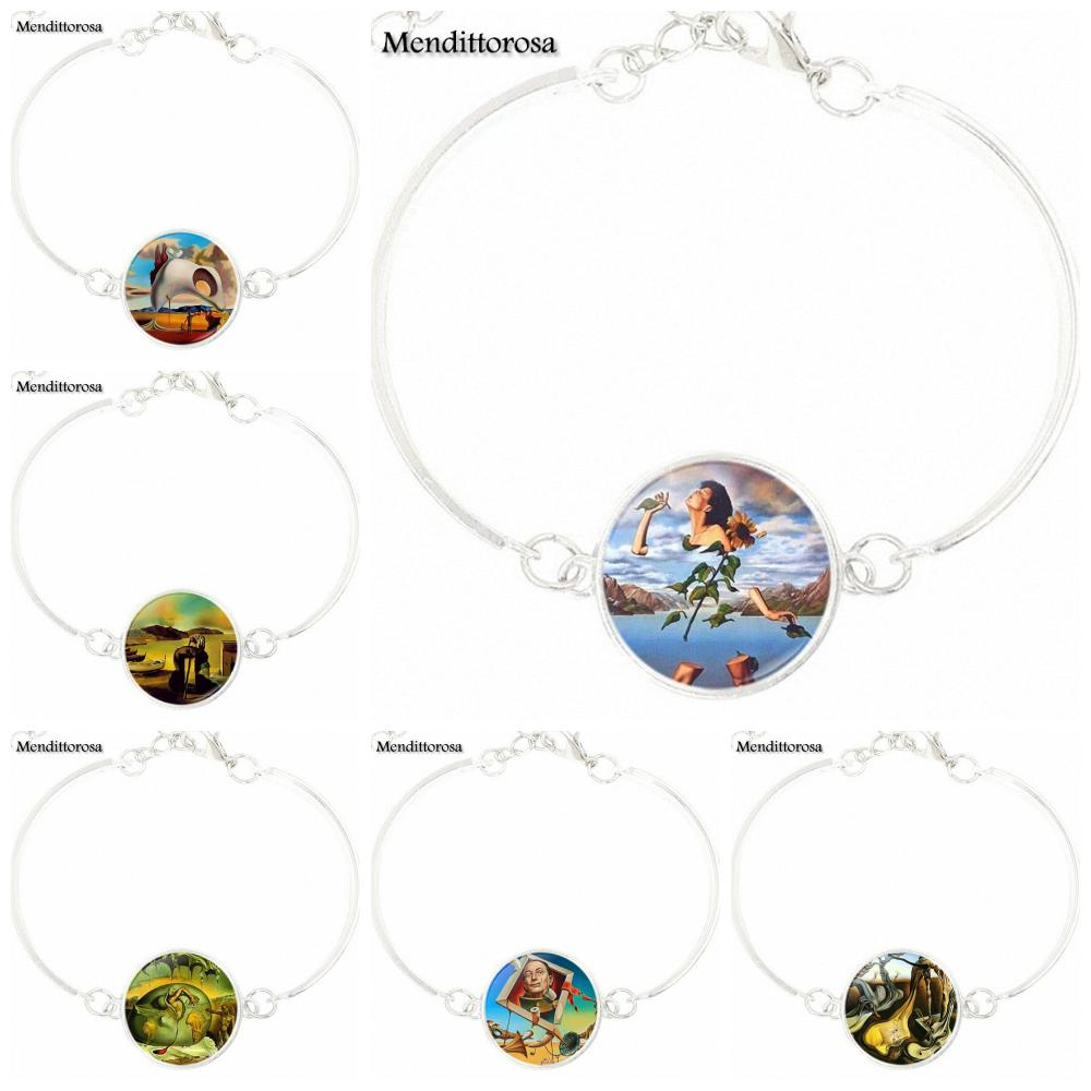 Mendittorosa For Women Salvador Dali Steampunk Style Jewelry With Silver Plated Glass Cabochon Long Statement Bracelet Bangle