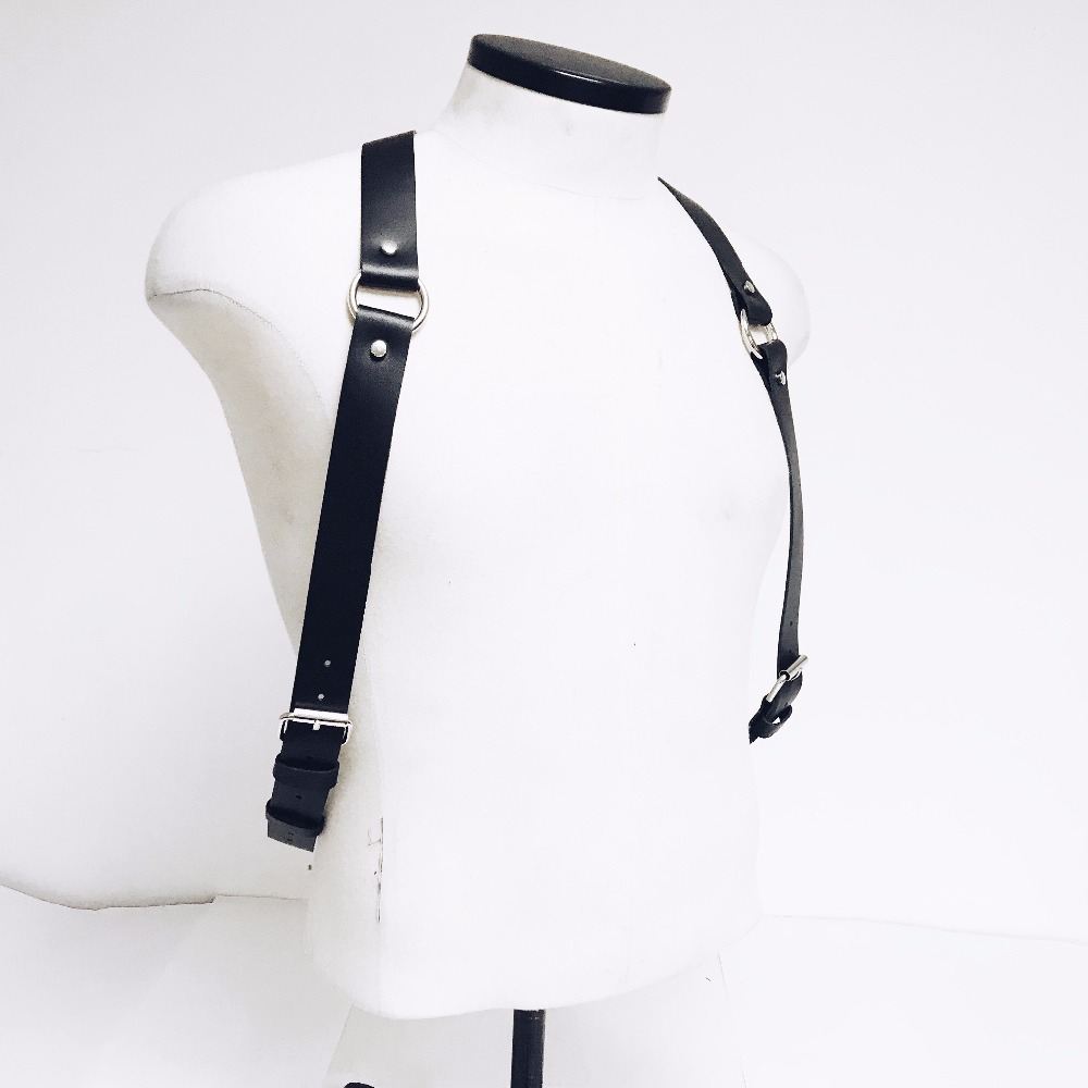 Men 39 s Sexy Body Black PU Leather Belt High Quality Fashion Burning Man Costumes Goth Punk Corset Harajuku Lingerie Bdsm Clothes in Men 39 s Belts from Apparel Accessories