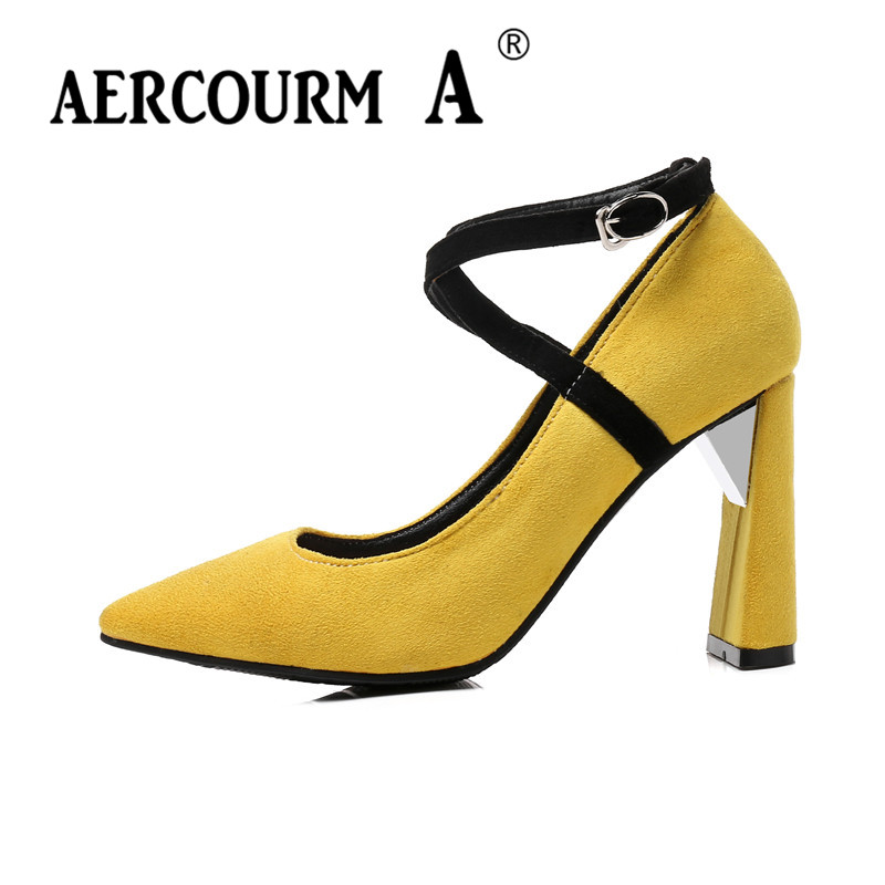 Aercourm A Women High Heels Flock Pumps 2018 Women Shoes Lady Black Yellow Red Pink Casual Solid Shoes Square Heel Women Pumps aercourm a 2018 new women genuine leather shoes ladies white pink dress solid shoes thin heel women pointed head pumps fde1121