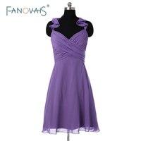 2015 여름 스타일 보라색 들러리 드레스 간단한 드레스 고삐 셔링 짧은 쉬폰 웨딩 파티 드레스 신부 들러리 BND04