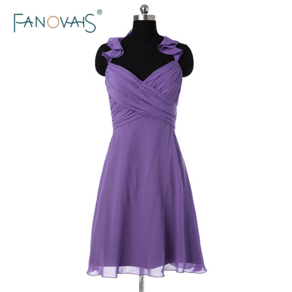 2015 Summer Style Purple Bridesmaid Dress Simple Dress Halter Ruched Short Chiffon Wedding Party Dress For Bridesmaids BND04