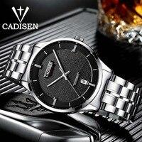 Cadisen 오리지널 브랜드 시계 남자 날짜 자동 자체 바람 스테인레스 스틸 5atm 방수 비즈니스 남자 손목 시계 시계|기계식 시계|   -