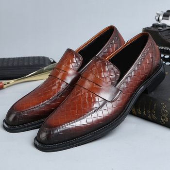 Fashion Round Toe Slip on Man Casual Shoes Genuine Leather Handmade Comfortable Loafers Men's Welted Breathable Flats JS246