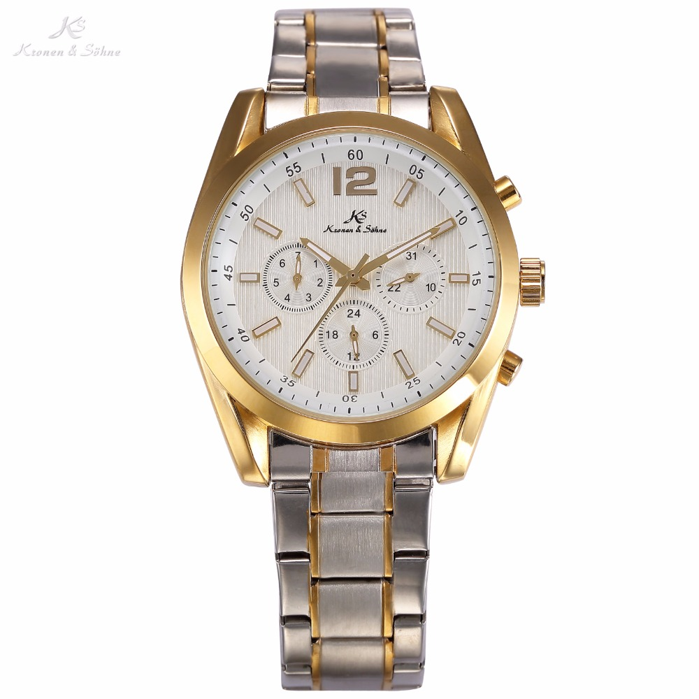 KS Golden White Date Day 24Hrs Stainless Steel Case Waterproof Full Steel Band Automatic Mechanical Men Dress Wrist Watch /KS189 relojes full stainless steel men s sprot watch black and white face vx42 movement