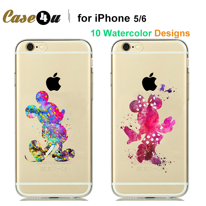 Lovely Couple Mickey Minnie Mouse Clear Case For fundas iPhone 5 5s 6 6s 7 Plus iphone7 Silicone Cases Watercolor Capinhas Para