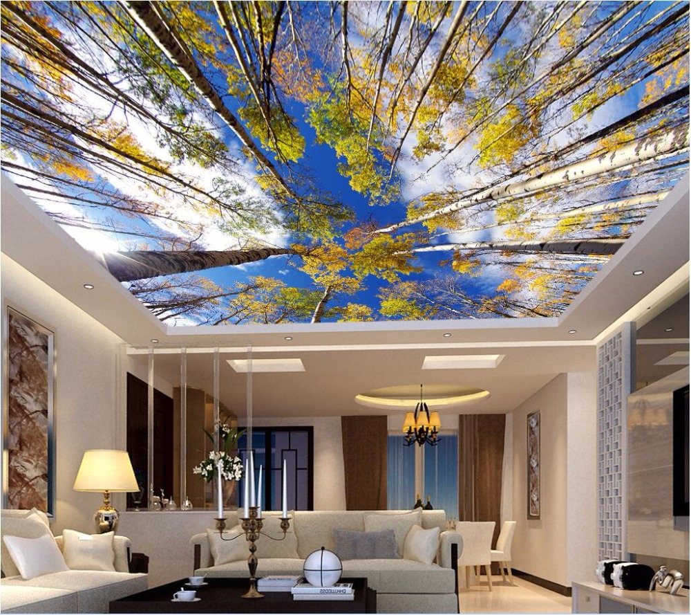 3d ceiling murals wall paper nature of your autumn birch for 3d ceiling paper