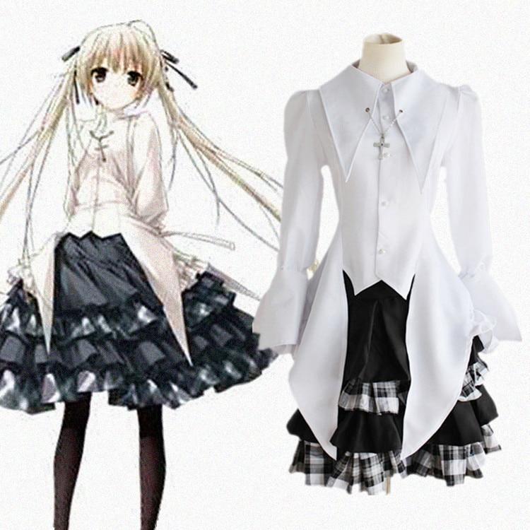 Kasugano Sora косплей костюмы японского аниме В одиночестве, где мы наименее одинок одежда (топ + юбка + ожерелье)