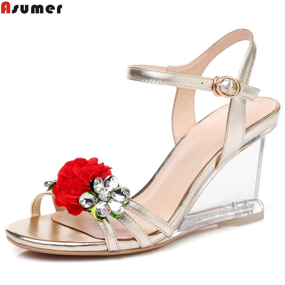 где купить ASUMER 2018 summer ladies shoes buckle gold silver fashion wedges flowers crystal women genuine leather high heels sandals по лучшей цене