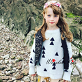 New 2016 Winter Girls Sweater Baby Sweater Knitting Sweater Triangle Christmas Tree With Same Paragraph Knitting Kids Clothing