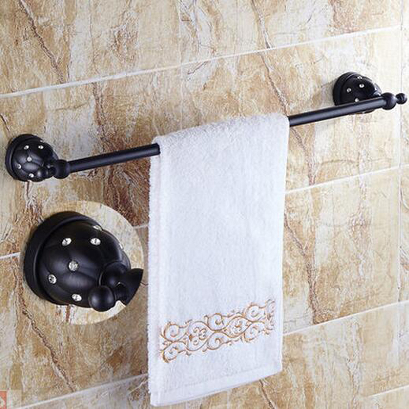 Flower Carved Oil Rubbed Bronze Marble Towel Rack Holder Single Rod Towel Bar Towel Hangers ceramic oil rubbed bronze crystal hanger towel rack holder single towel bar new