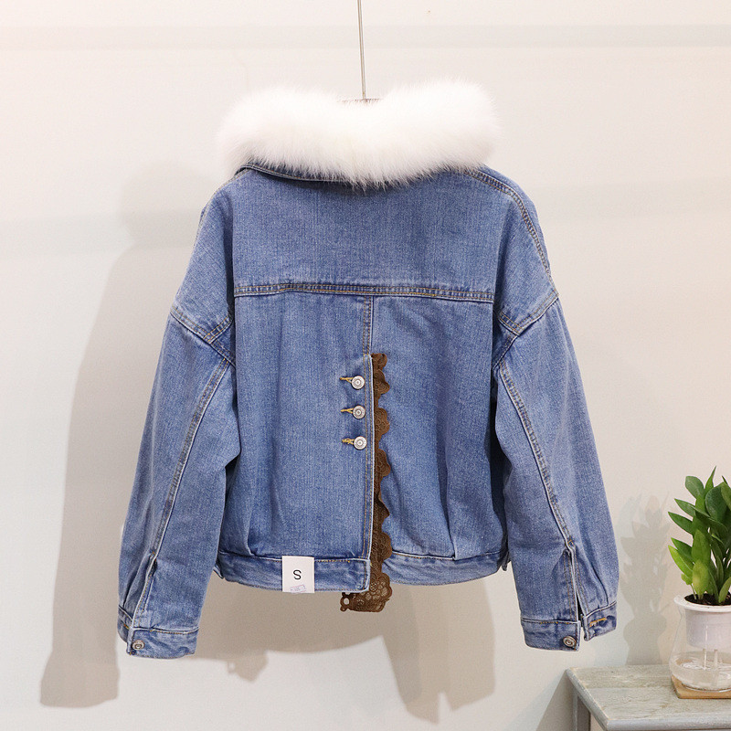 ntel BlauPU Mode Chic Weibliche 2018 Trendy Fox Pelzkragen Mantel Padded Frauen Himmel Jacken Dicke Denim Lose M Kurze Winddicht Warm Winter lcKF1J