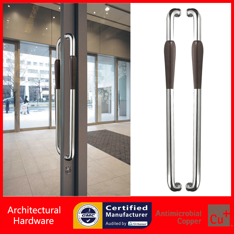 Entrance Door Pull Handle Made Of Polished 304 Stainless Steel & Walnut-wood For Wooden/Glass/Metal Front Doors PA-233-46*800mm antimicrobial black solid nylon offset door pull handle for entrance glass wooden metal frame doors pa 797