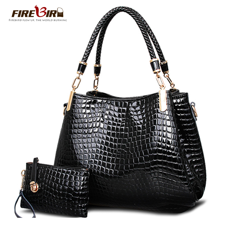 FIREBIRD!women Leather Handbags Alligator Bucket Channels Hand Bags Shoulder Bag Bolsos Mujer Ladies Wallet H344