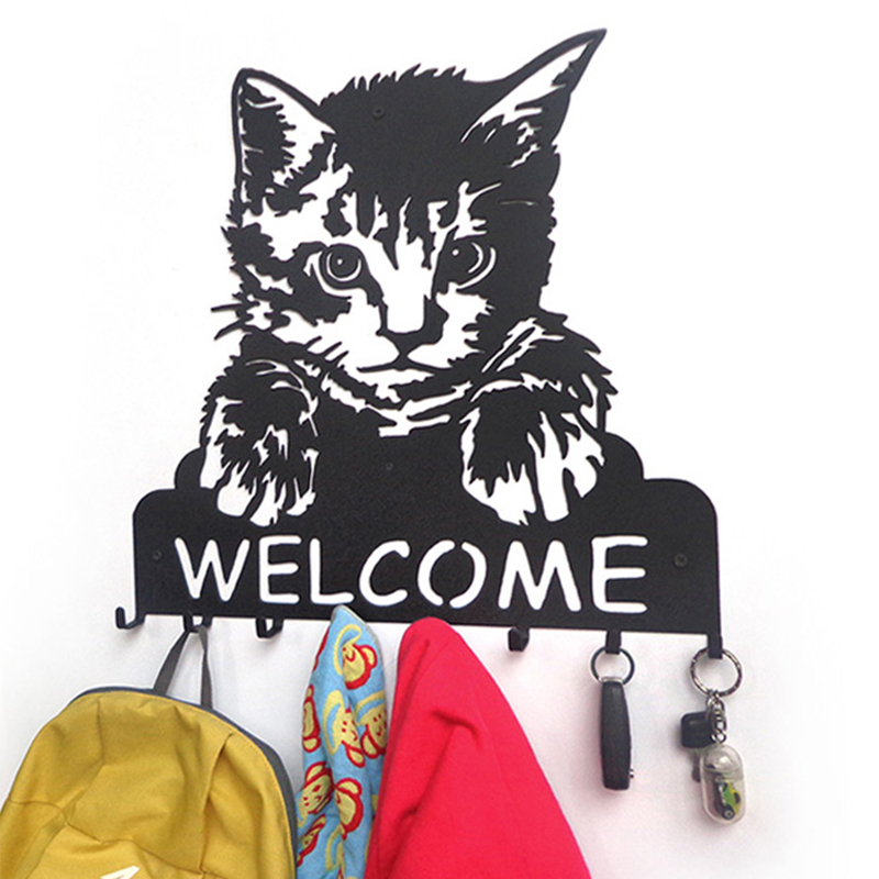 Iron decorative painting portrait key hook WELCOME cat welcome creative clothes wall hanger metal hook